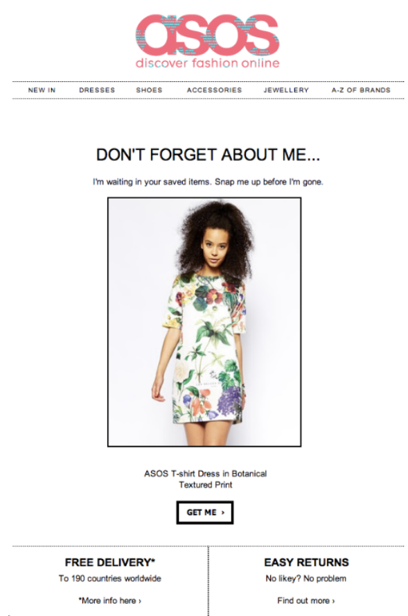 An amazing abandoned cart email from a brand we all know and love Asos