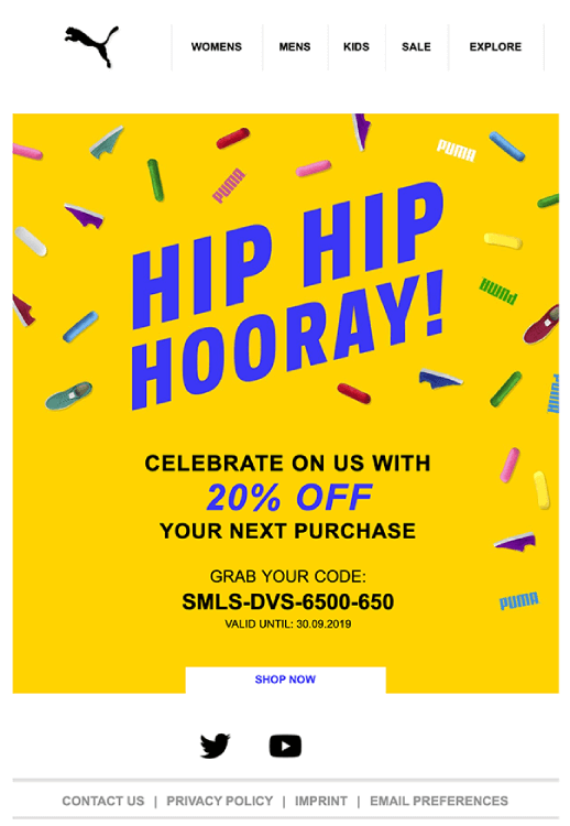 puma_straightforward_happy_birthday_email_to_thier_customers