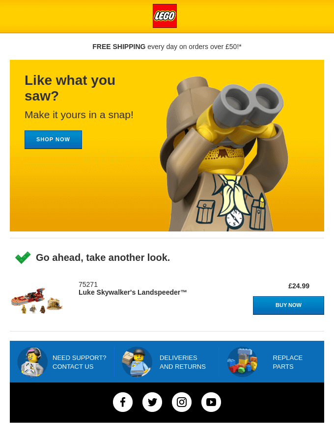 lego_abandoned_cart_email_free_shipping_offer
